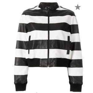 NWT Alice & Olivia Striped Leather Jacket